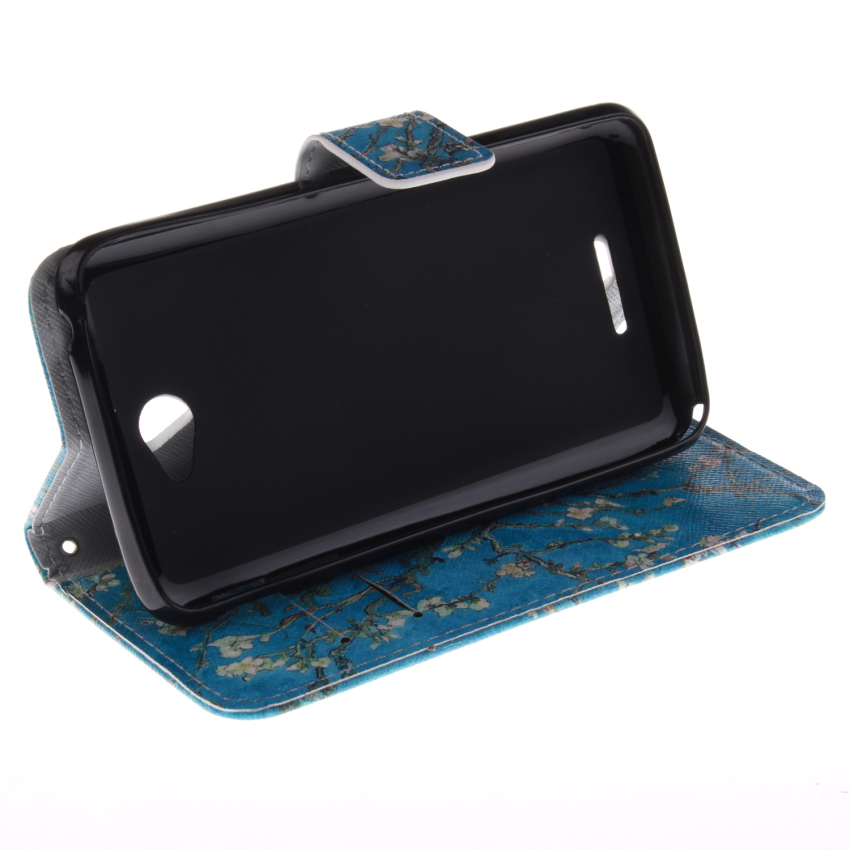 Filp Leather Case Built in Card Slot for Sony Xperia M4 (Trees Double Painting Blue) (Intl)