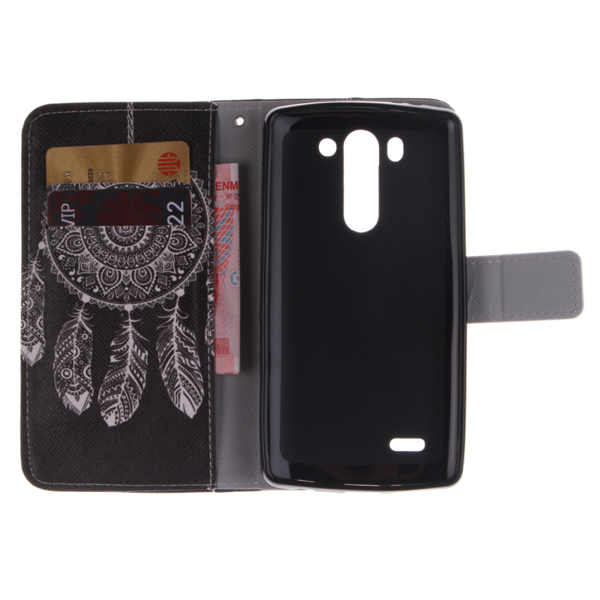 Filp Leather Case Built in Card Slot With Dreamcatcher Double Painting for LG G3 Mini (Black) (Intl)