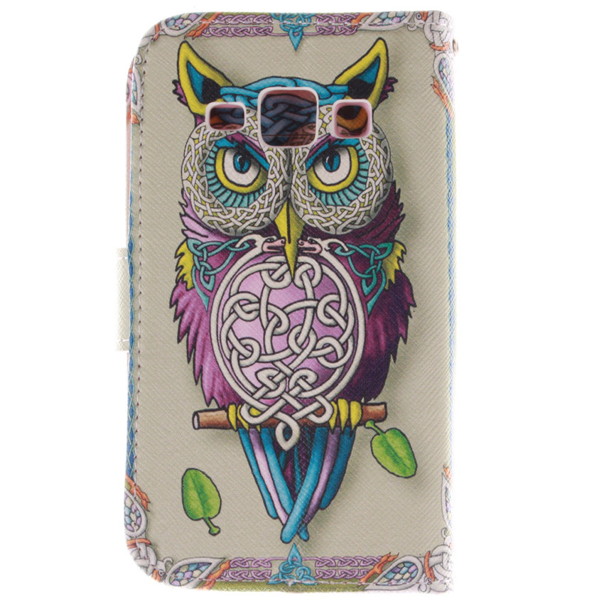 Filp Leather Case Built in Card Slot With OWL Double Painting For Samsung Galaxy J1 (White) (Intl)