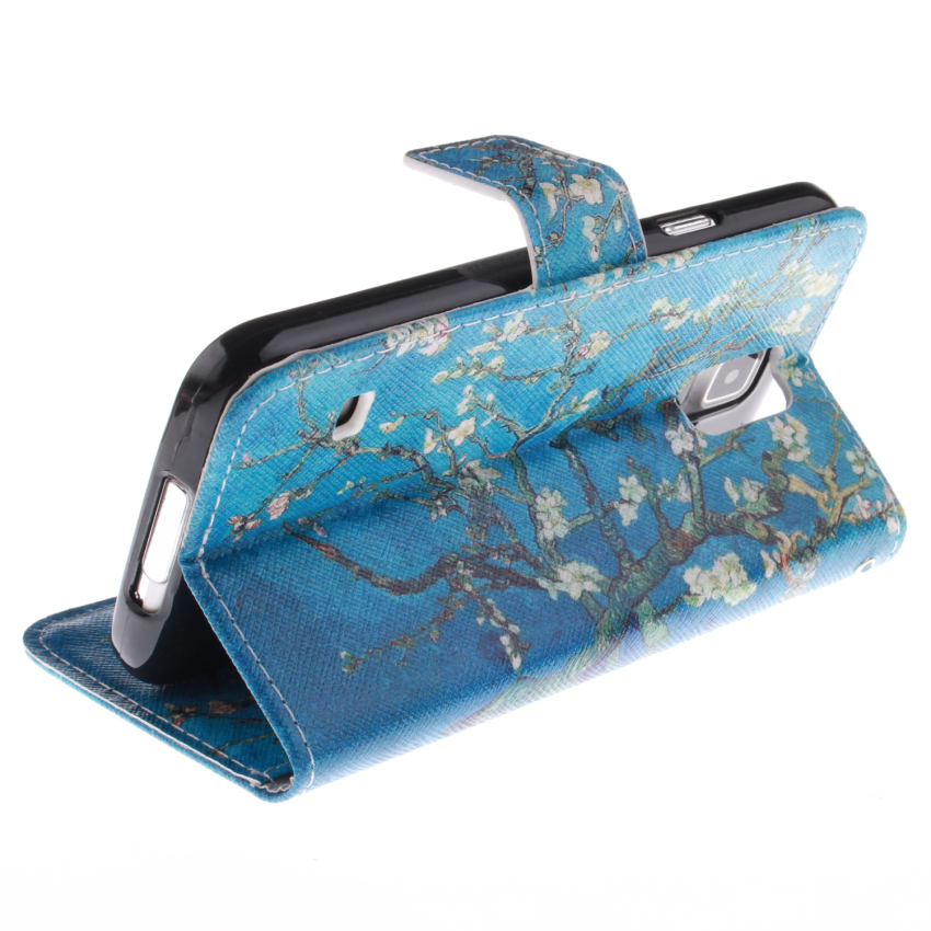Filp Leather Case Built in Card Slot With Trees Double Painting For Samsung Galaxy S5 mini-Blue (Intl)