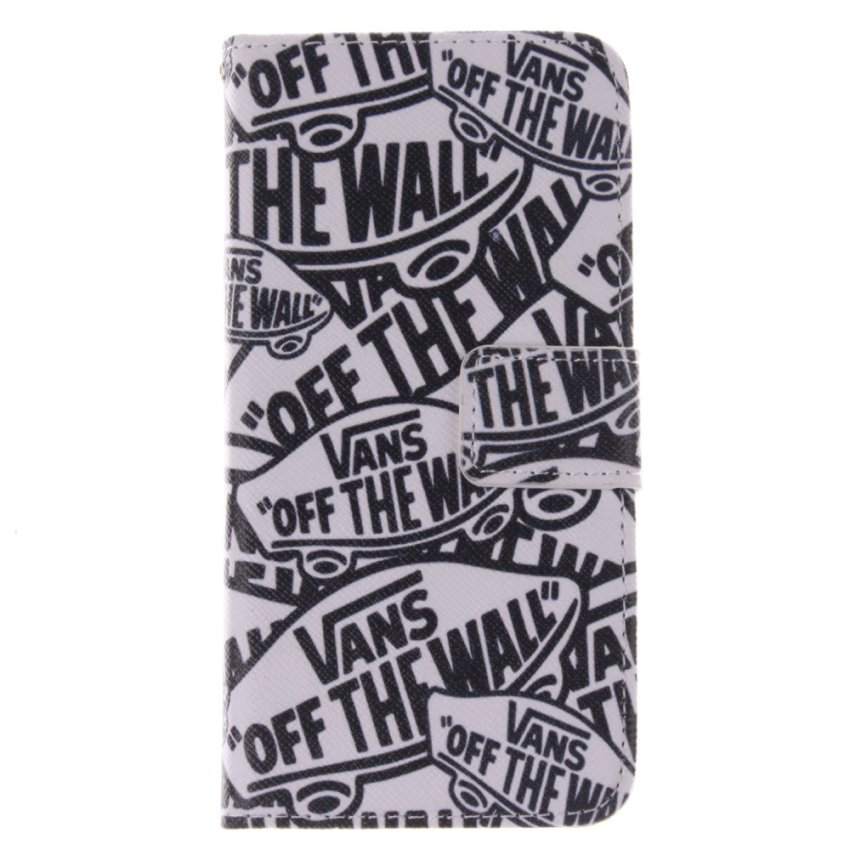 Filp Leather Cover Built in Card Slot with Character Double Painting for HTC One M8 mini (White/Black) (Intl)