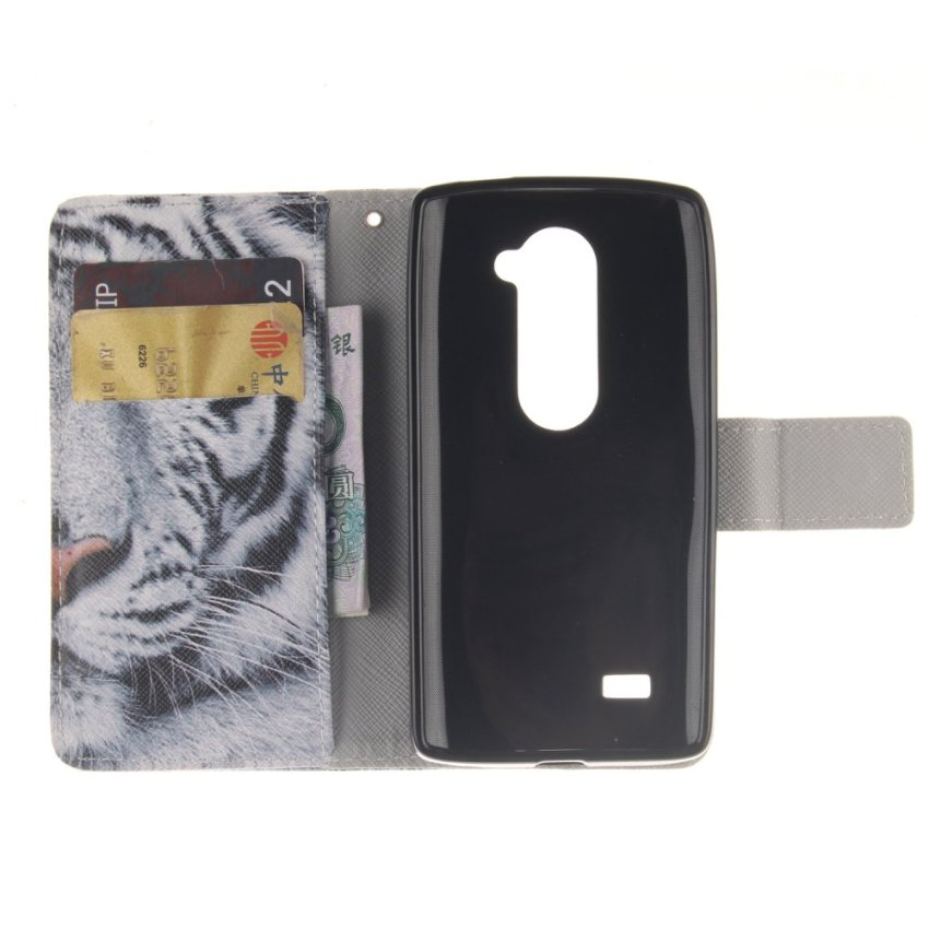 Filp Leather Cover Case Built in Card Slot with Tiger Double Painting For LG Leon (White) (Intl)