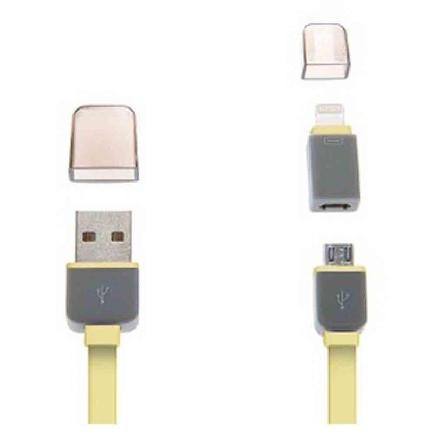 Flat Noodle Cord for IPhone 5/6/6+/Note 4/3/2/S5/S4 (Yellow) (Intl)