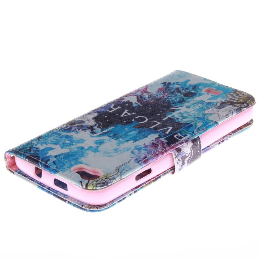 Flip Leather Case Built in Card Slot with Blue Color Double Painting for Wiko Lenny (Multicolor) (Intl)