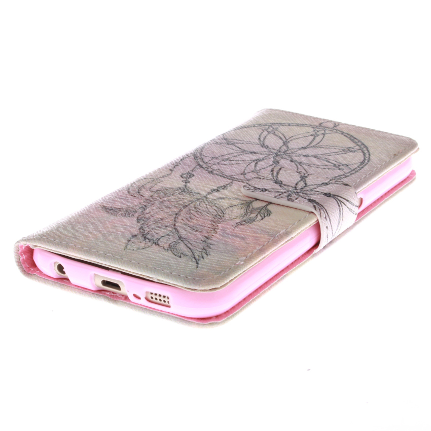 Flip Leather Case Built in Card Slot with Dreamcatcher Double Painting for Samsung Galaxy S6 (Pink) (Intl)