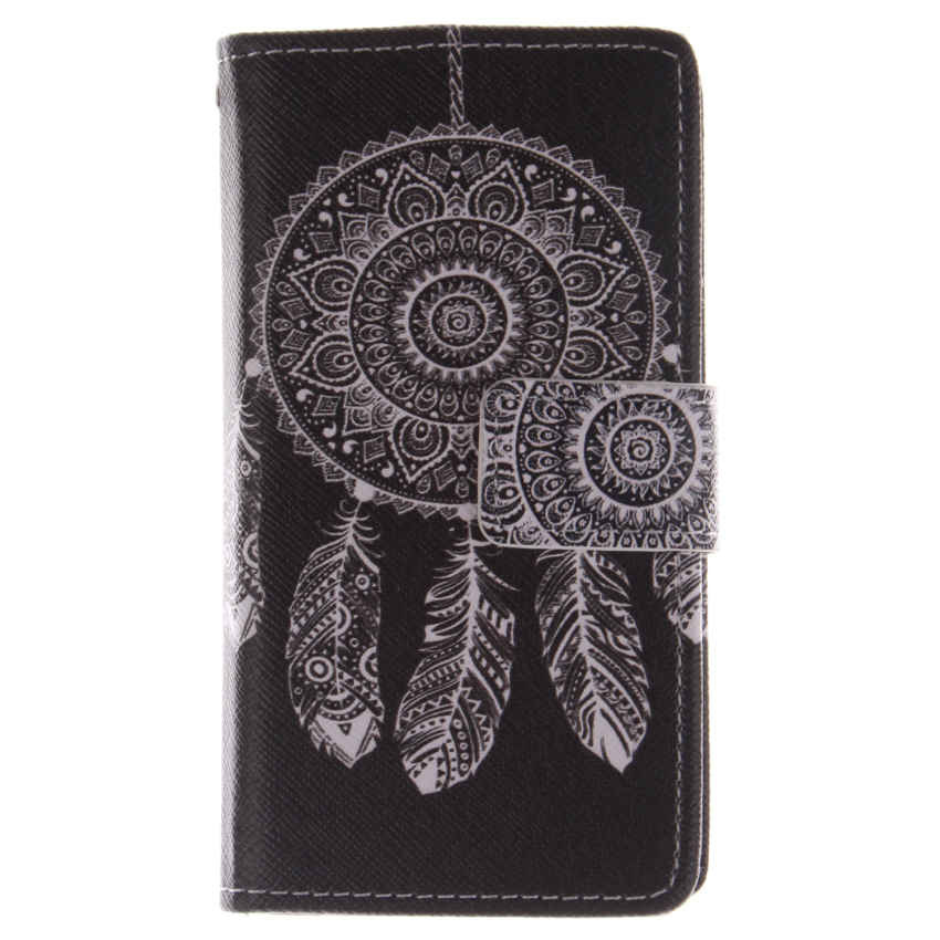 Flip Leather Case Built in Card Slot with Dreamcatcher Double Painting for Sony Xperia Z3 Mini (Black) (Intl)