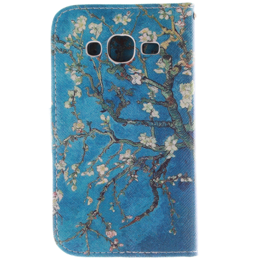 Flip Leather Case Built in Card Slot with Trees Double Painting for Samsung Galaxy Core Prime G360 (Blue) (Intl)