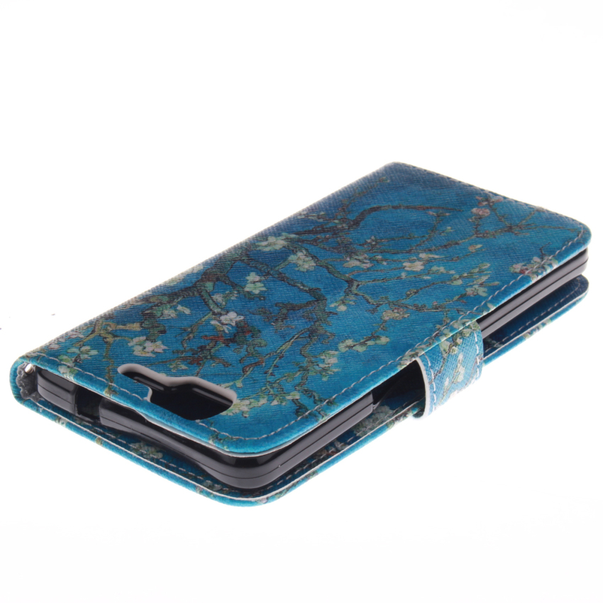 Flip Leather Case Built in Card Slot with Trees Double Painting for Wiko Highway 4G (Blue) (Intl)