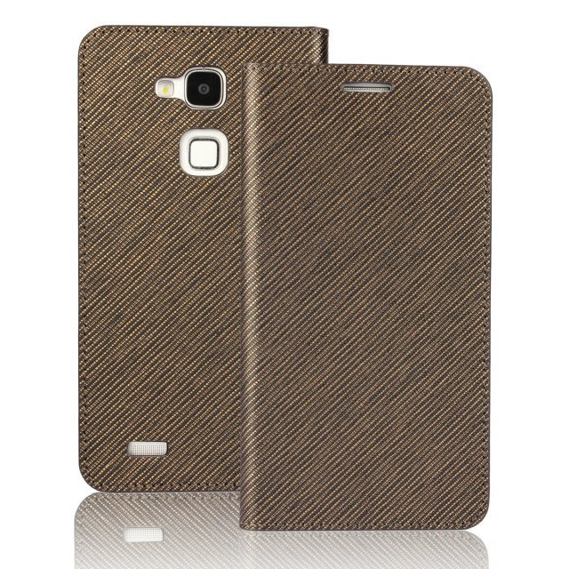 Flip Protective Plaid Leather Purse Holster Cover for Huawei Mate7 (Brown)