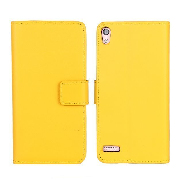 Flip Protective Plain Leather Purse Holster Cover for Huawei P6 (Yellow)