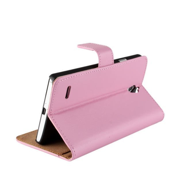 Flip Protective Plain Leather Wallet Cover for Huawei Ascend G700 (Pink)