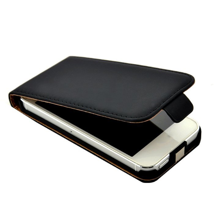 Flip PU Leather Pouch Cover for iPhone 5 5S (Black) (Intl)