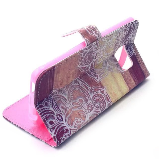 Floral Wallet Leather Case Cover for Samsung Galaxy S6 Edge (Brown)