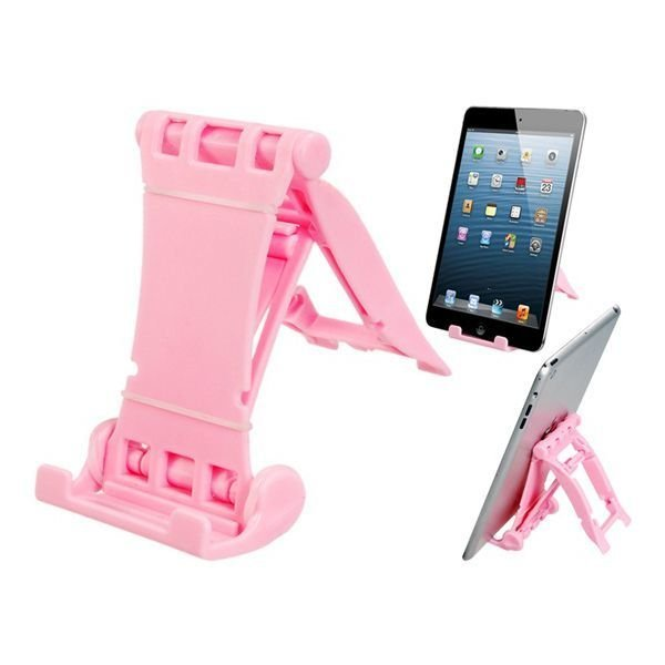 Foldable Hard Plastic Stand Phone Holder for iPhone iPad Samsung (Pink)