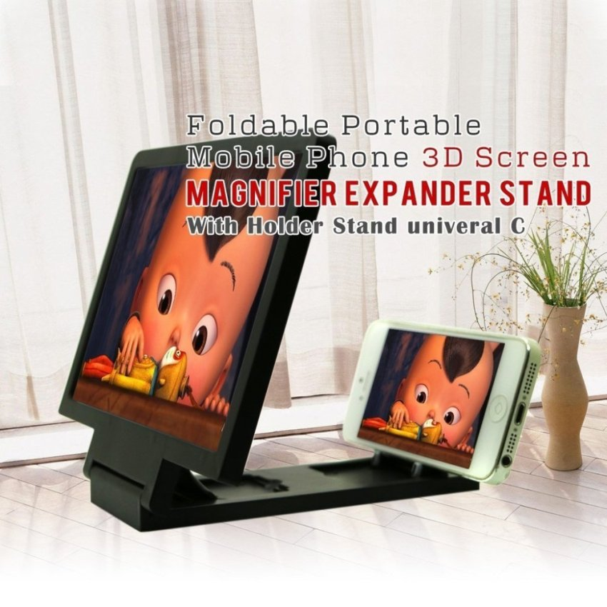Foldable Portable Mobile Phone 3D Screen Magnifier HD Expander with Holder Stand Univeral C, BLACK (Intl)