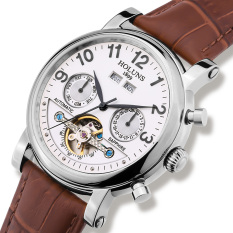 Foonovom HOLUNS Watch For Men Automatic Mechanical Watches Fashion Hollow Belt Male Table Back Through Mechanical Watches Tourbillon (White)