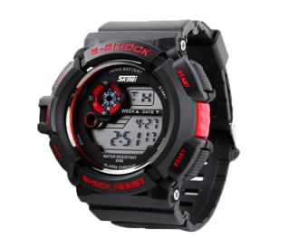Foorvof SKMEI Digital LED Quartz Climbing Dive Watch Wristwatch (Red)