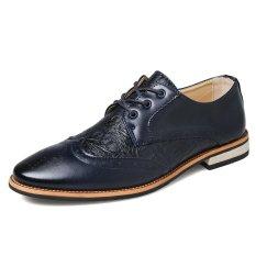Formal Crocodile Leather Men Casual Business Shoes (Dark Blue) - Intl
