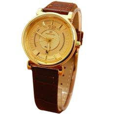 Fortuner Analog Jam Tangan Wanita - Leather Strap - Coklat Plat Gold - FR 2831