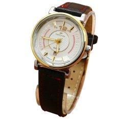 Fortuner Analog Jam Tangan Wanita - Leather Strap - Hitam Body Gold Plat Putih List Merah - FR 2831