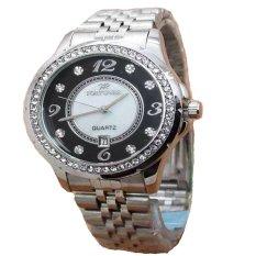 Fortuner Analog Jam Tangan Wanita - Stainless Stell - Silver Plat Hitam - FR K8107GA