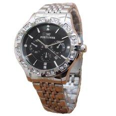 Fortuner Jam Tangan Wanita - Silver - Strap Stainless Steel - FR K8107 Silver Black