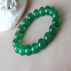 FSH Natural Green Agate Bead Bracelet Green Crystal Beads Bracelets Promote Healthy Men and Women with Evil Effect - Bead 12M [M Wrist Fine Or Coarse Woman Wrist (Intl)