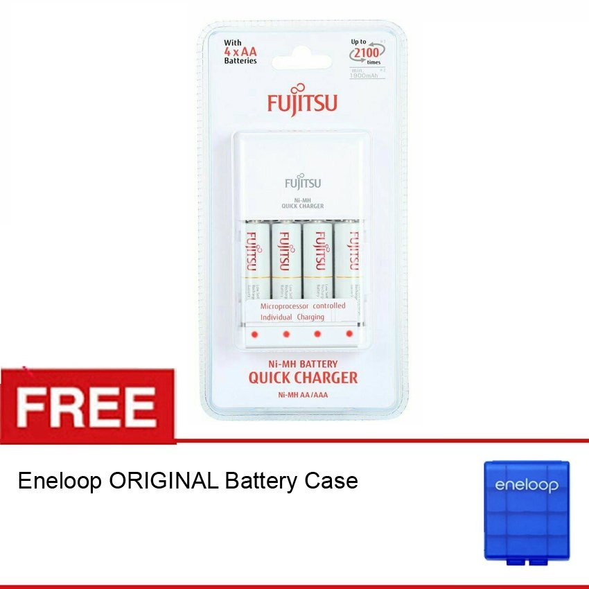 Fujitsu Quick Charger AA 4 Battery 1900 mAH Free Eneloop Battery Case .