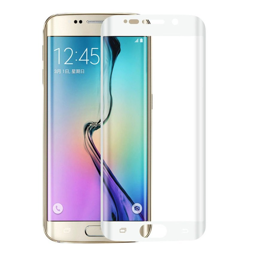 Full Coverage 3D Curved Tempered Glass for Samsung Galaxy S6 Edge Plus (White) (Intl)