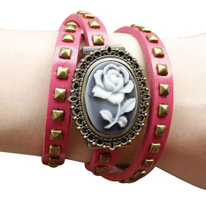Functional Watch Embossed Flower Retro Leather Handbags Leather Bracelet Watch Ladies Watches