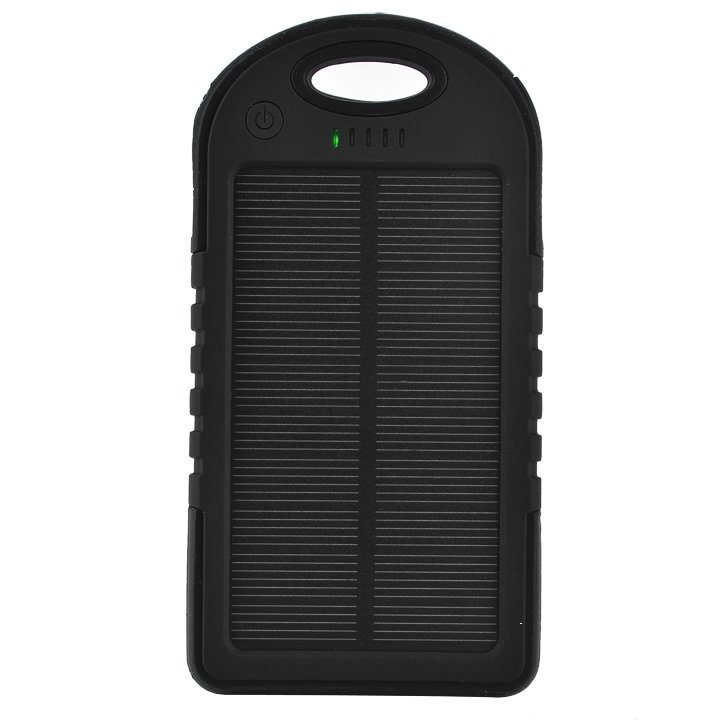 GE Anti-Solar Power Dual USB Charging Treasure Polymer Waterproof Dustproof Shookproof Emergency Charge (Black)