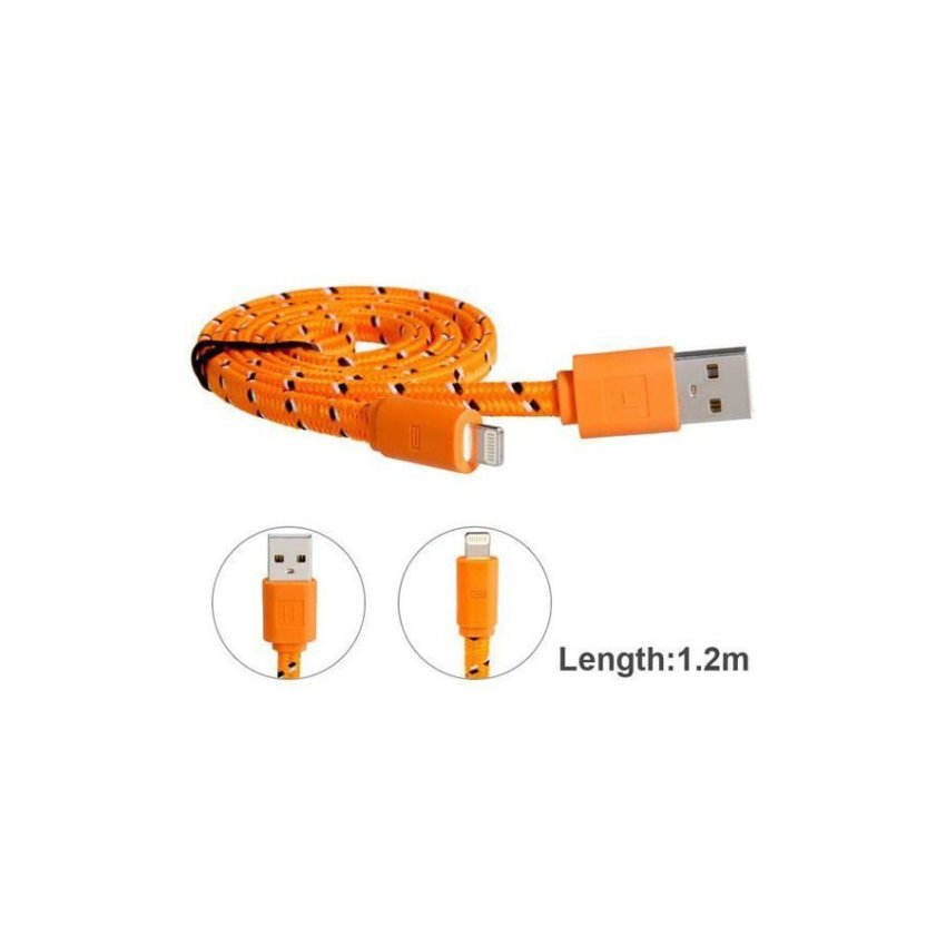 Generic 1.2 m 8 pin Nylon Woven Flat USB Charging Data Cable Orange