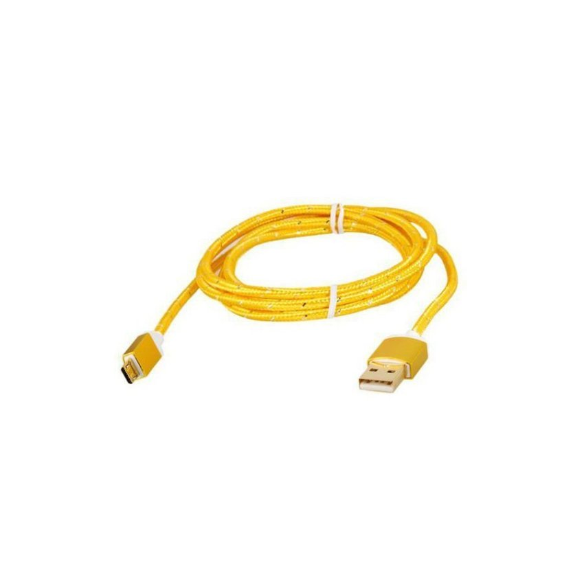 Generic 1.5M Micro USB to USB 2.0 Knit Charging Data Cable (Golden)