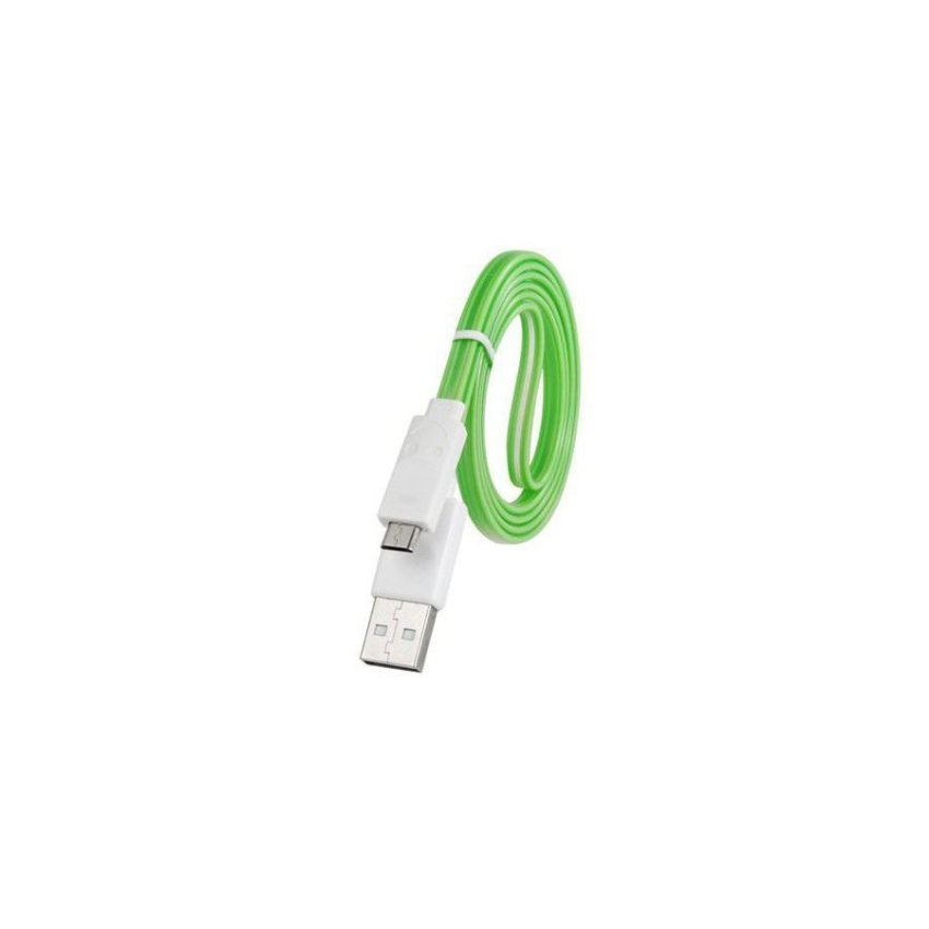 Generic 1 m LED Flashing Micro USB Charging Data Flat Cable for Samsung HTC Sony Cell Phones Tablet PCs (Green)
