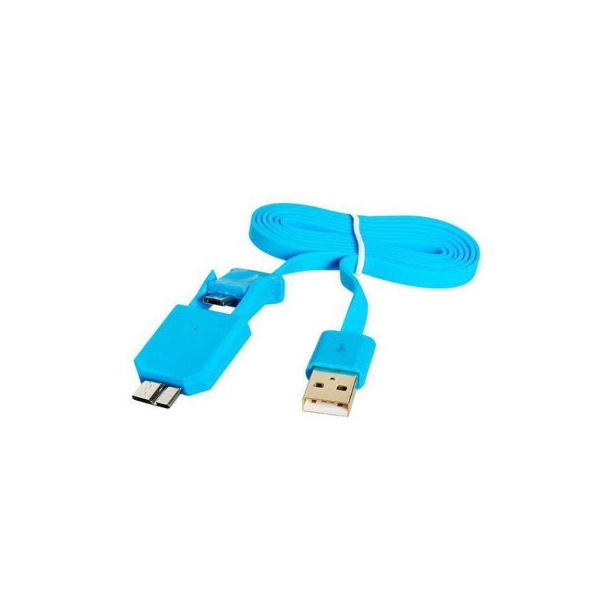 Generic 1M X 702 2 in 1 Micro 2.0/3.0 USB Charge Sync Wide Flat Data Cable (Blue)