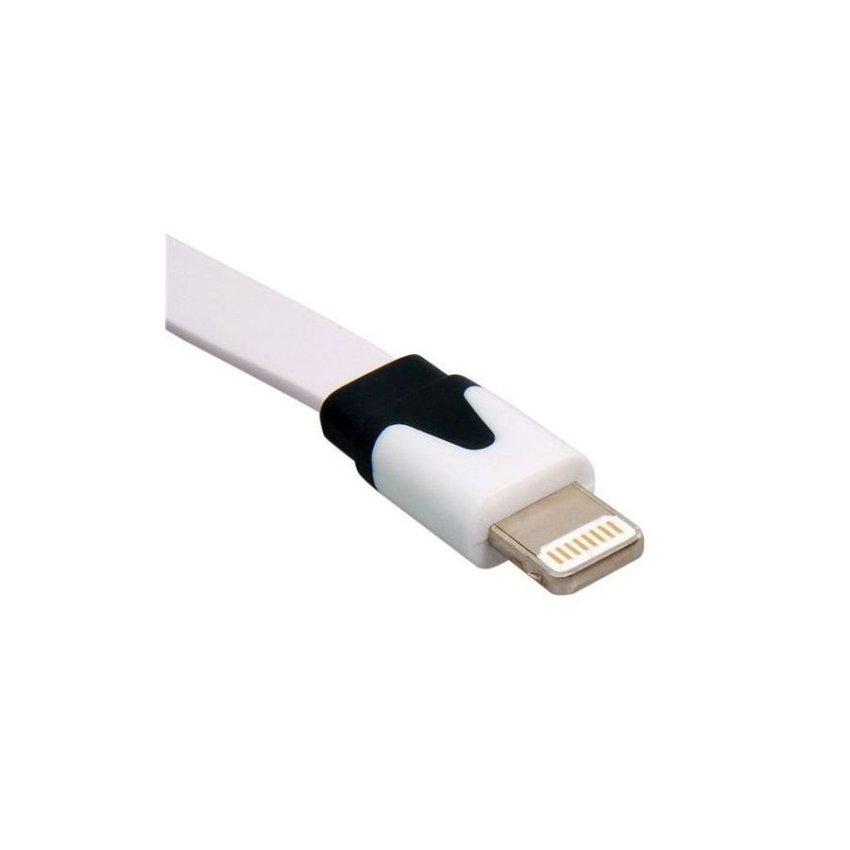 Generic 2 m Data Transmission Charging Flat Cable for iPhone 5 iPad Mini iPod Touch 5 iPod Nano 7 iPad 4 White