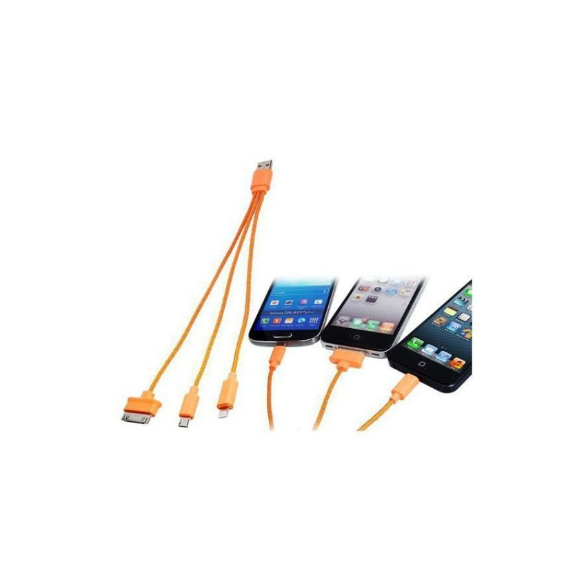 Generic 3 in 1 Woven USB Charging Data Cable for Samsung HTC iPhone (Orange)
