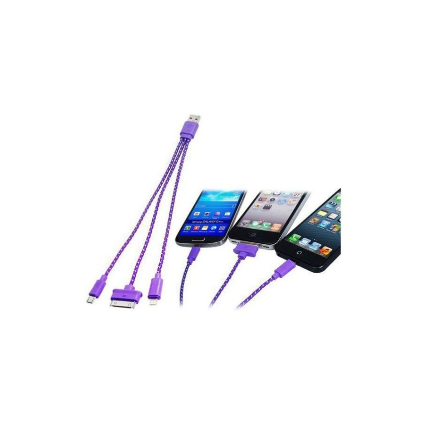 Generic 3 in 1 Woven USB Charging Data Cable for Samsung HTC iPhone (Purple)