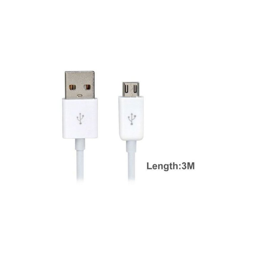 Generic 3 m Micro USB Charging Data Cable for Cell Phones (White)