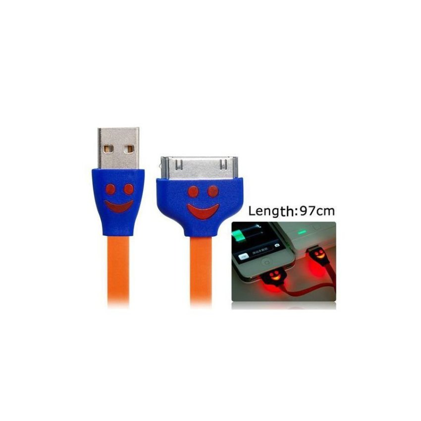 Generic 97 cm Smiley Face Flat Data Cable for iPhone 4/4S Orange