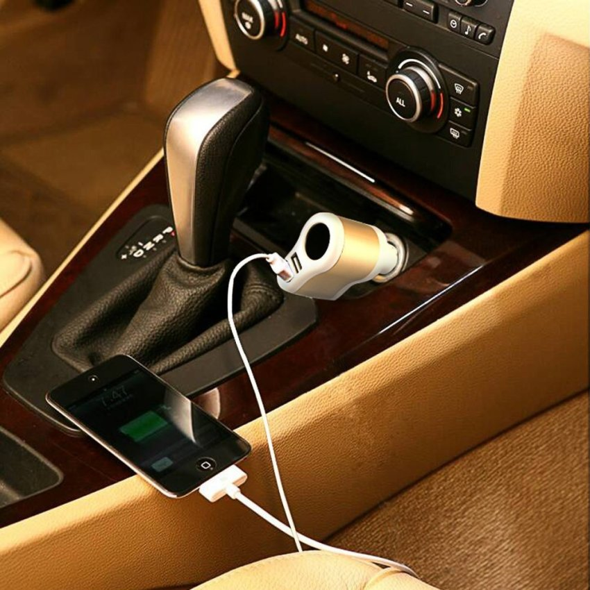 Generic Car Charger 3in1 with DC Port - Putih-Merah