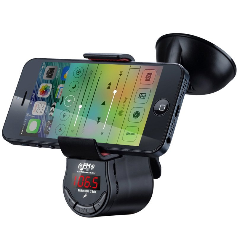 Generic FM-09 Univeral LCD Display 360� Rechargable Clip Vehicle Car Mount Holder Handsfree Calling FM Transmitter MP3 Speaker for  Smart Cell phones (Intl)