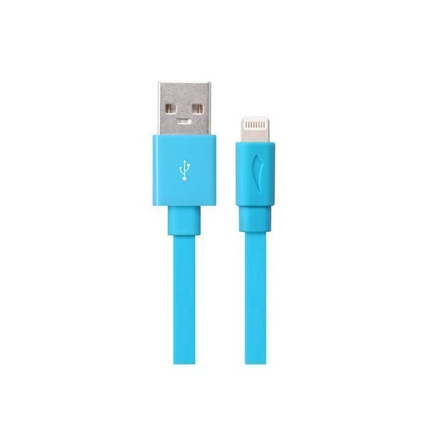 Generic MFi Lightning 8 Pin to USB Flat Charging Data Cable with TPE Jacket for iPhone 5S/5 Blue
