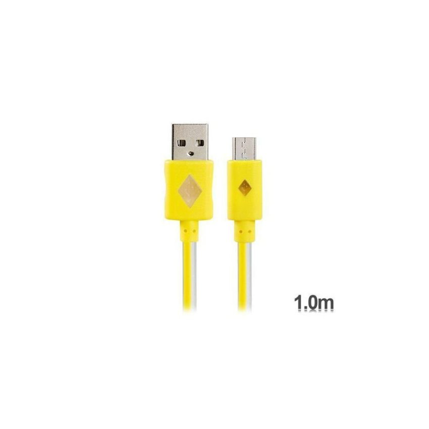 Generic V8 1 m LED Colorful Flashing Micro USB to USB Charging Data Cable (Yellow)