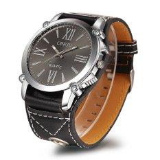 Geneva Platinum Watch PU Leather Wrist Watch Fashion Roman Dress Watch Women (Black)