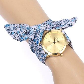 Geneva Women Floral Cloth Band Analog Quartz Wrist Watch