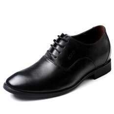 GN112631.2.56 Inches Taller-Genuine Leather Heightening Elevated Oxfords Formal Business Wedding Shoes (Black)