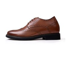 GN6591.2.36 Inches Taller-Genuine Leather Heightening Elevated Oxfords Business Dress Shoes (Brown)