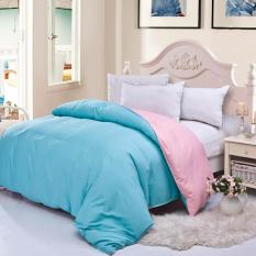 GoGoLife Cotton Two-tone Home Quilt Cover Single / Full / Queen / King Size-18# Blue And Pink