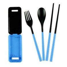 Gokea Box of Cutlery - Sendok Garpu Sumpit Set Travel - Biru